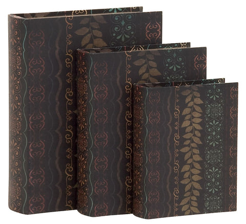 61452 Leaf & Filigree Design Canvas Wood Book Box Storage Set/3 by Benzara