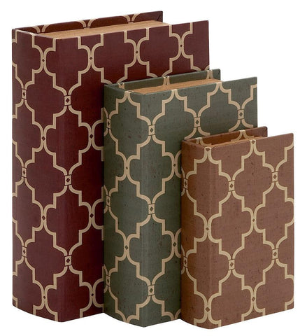 91827 Moroccan Design Faux Leather Wood Book Box Storage Set of 3 by Benzara