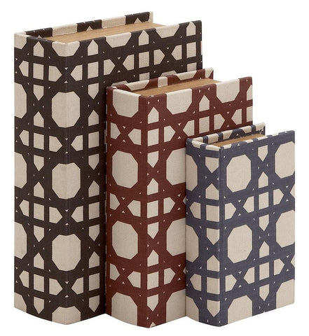 91828 Lattice Pattern Faux Leather Wood Book Box Storage Set of 3 by Benzara