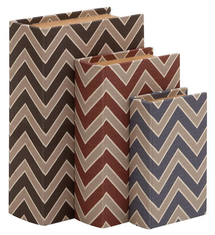 91829 Chevron Pattern Faux Leather Wood Book Box Storage Set of 3 by Benzara