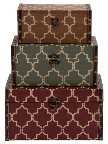 91822 Moroccan Design Wood Vinyl Rectangular Storage Trunk Set/3 by Benzara