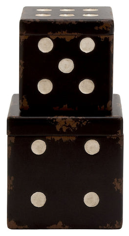 20328 Black or Off-White Wood Dice Square Storage Box Set of 2 by Benzara