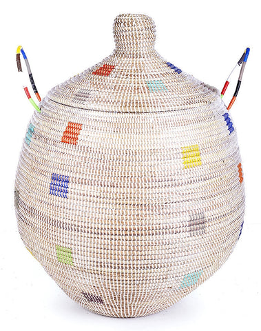 sen33q White with Rainbow Dots Medium Ndala Laundry Hamper Storage Basket | Senegal Fair Trade by Swahili Imports
