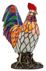 9396 Red Rooster Stained Glass Accent Lamp by River of Goods | 15.5 inches