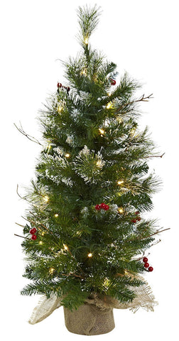 5442 Frosted Tips & Berries Christmas Tree Lights by Nearly Natural | 3 ft