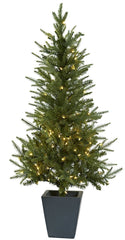 5443 Silk Christmas Tree with Planter & Lights by Nearly Natural | 4.5 feet