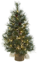 5444 Frosted Tips & Pine Cone Christmas Tree Lights by Nearly Natural | 3'