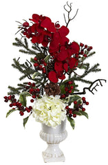 1384 Hydrangea Orchid Berry Holiday Arrangement by Nearly Natural | 27""