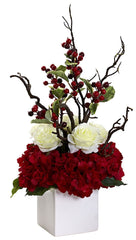 1386 Hydrangea Rose Berry Holiday Arrangement by Nearly Natural | 23.5""