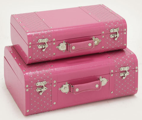 99067 White Stars on Pink Faux Leather Wood Suitcase Storage Box Set of 2 by Benzara