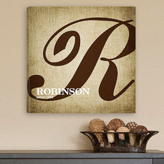 CA0002 Calligraphy Monogram Print on Canvas | Personalized Wall Art 14x14 by JDS Marketing