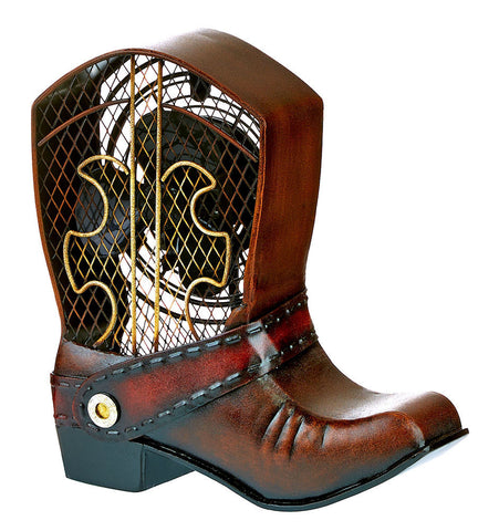DBF0122 Cowboy Boot Small Hand Painted Metal Figurine Table Fan by Deco Breeze