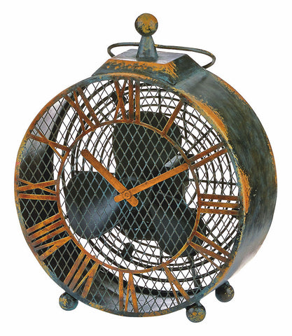 DBF0125 Antique Clock Small Hand Painted Metal Figurine Table Fan by Deco Breeze