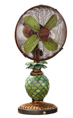 DBF0247 Pineapple 10 inch Stained Glass Oscillating Table Fan with Lamp by Deco Breeze