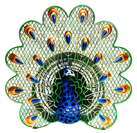 DBF0268 Peacock Small Hand Painted Metal Figurine Table Fan by Deco Breeze