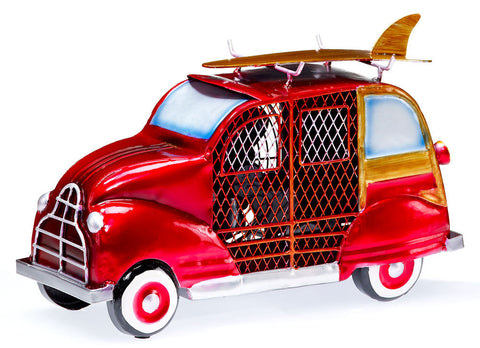 DBF0272 Woody Car Red Small Hand Painted Metal Figurine Table Fan by Deco Breeze