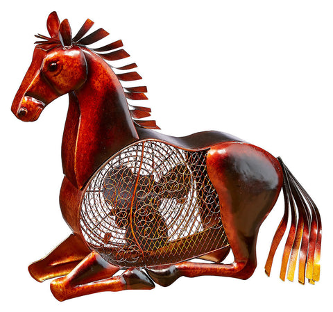 DBF0334 Horse Hand Painted Metal Figurine Table Fan by Deco Breeze