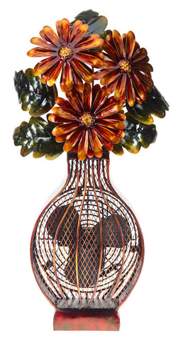 DBF0364 Floral Bouquet Hand Painted Metal Figurine Table Fan by Deco Breeze