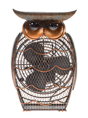 DBF0365 Owl Small Hand Painted Metal Figurine Table Fan by Deco Breeze
