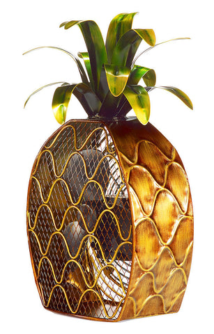 DBF0375 Pineapple Hand Painted Metal Figurine Table Fan by Deco Breeze