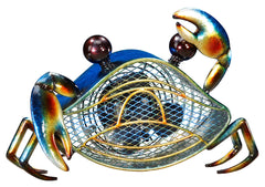 DBF0396 Blue Crab Small Hand Painted Metal Figurine Table Fan by Deco Breeze