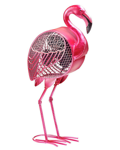 DBF0397 Flamingo Hand Painted Metal Figurine Table Fan by Deco Breeze