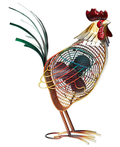 DBF0406 Country Rooster Hand Painted Metal Figurine Table Fan by Deco Breeze