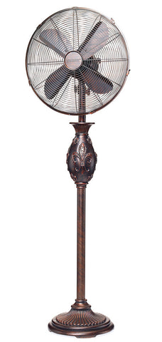 DBF0611 Fleur de Lis 16 inch Decorative Oscillating Standing Floor Fan by Deco Breeze