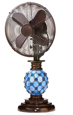 DBF1075 Azure 10 inch Stained Glass Oscillating Table Fan with Lamp by Deco Breeze