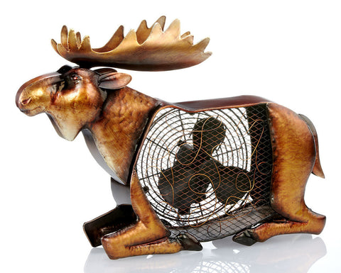 DBF1936 Moose Hand Painted Metal Figurine Table Fan by Deco Breeze