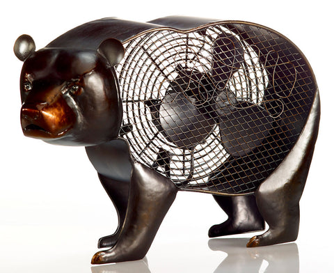 DBF1937 Black Bear Hand Painted Metal Figurine Table Fan by Deco Breeze