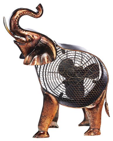 DBF2007 African Elephant Hand Painted Metal Figurine Table Fan by Deco Breeze