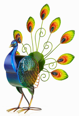 DBF2008 Peacock Hand Painted Metal Figurine Table Fan by Deco Breeze