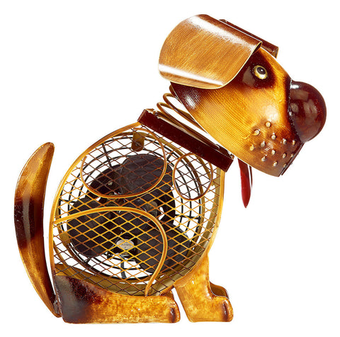 DBF2010 Country Dog Small Hand Painted Metal Figurine Table Fan by Deco Breeze