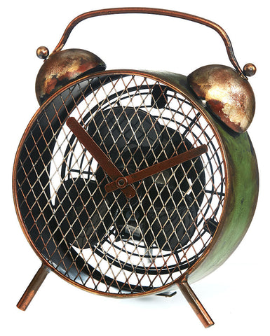 DBF3171 Alarm Clock Mini Hand Painted Metal Figurine Table Fan by Deco Breeze