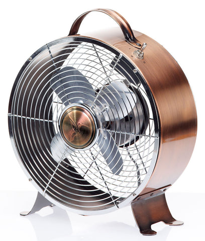 DBF5348 Retro Copper 9 inch Small Metal Table Desk Fan by Deco Breeze