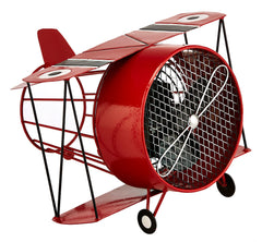 DBF5414 Biplane Red Small Hand Painted Metal Figurine Table Fan by Deco Breeze