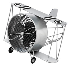 DBF5415 Biplane Silver Small Hand Painted Metal Figurine Table Fan by Deco Breeze