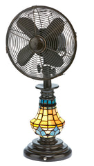 DBF6133 Victorian 10 inch Stained Glass Oscillating Table Fan with Lamp by Deco Breeze