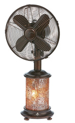 DBF6135 Honey Amber 10 inch Mosaic Glass Oscillating Table Fan with Lamp by Deco Breeze