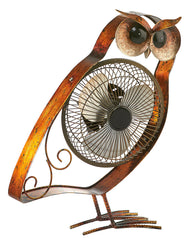 DBF6162 Owl Small Hand Painted Metal USB Portable Table Desk Fan by Deco Breeze