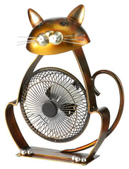 DBF6166 Cat Small Hand Painted Metal USB Portable Table Desk Fan by Deco Breeze