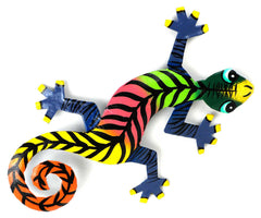 "HMDBG99_1_515005 Hand Painted Striped Gecko 8"" Oil Drum Metal Art 