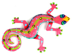 "HMDBG99_2_515006 Hand Painted Pink Gecko 8"" Oil Drum Metal Wall Art 