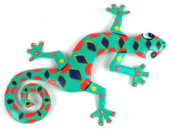 "HMDBG99_Spotted_535011 Hand Painted Spotted Gecko 8"" Oil Drum Metal Art 