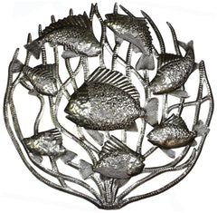 HMDCORAL-RR2-1 Fish in Coral Oil Drum Metal Wall Art 24"