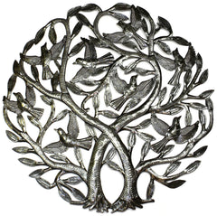 HMDDTREE-RR1-7 Double Tree of Life w/ Birds Oil Drum Metal Art 24"