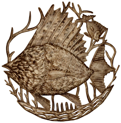 HMDFish_Fish_26 Big Fish Little Fish Oil Drum Metal Wall Art 24"