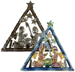 HMDNAT16-534118 HMDNAT17-534119 Triangle Nativity Animals 2 Designs Metal Art 7x8"