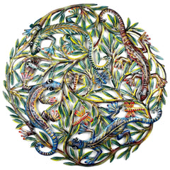 HMDPLIZ Hand Painted Lizards Dragonflies Oil Drum Art 24"